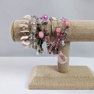 Jewelry - 9 Stretch Beaded Bracelets Pink and Dragonfly